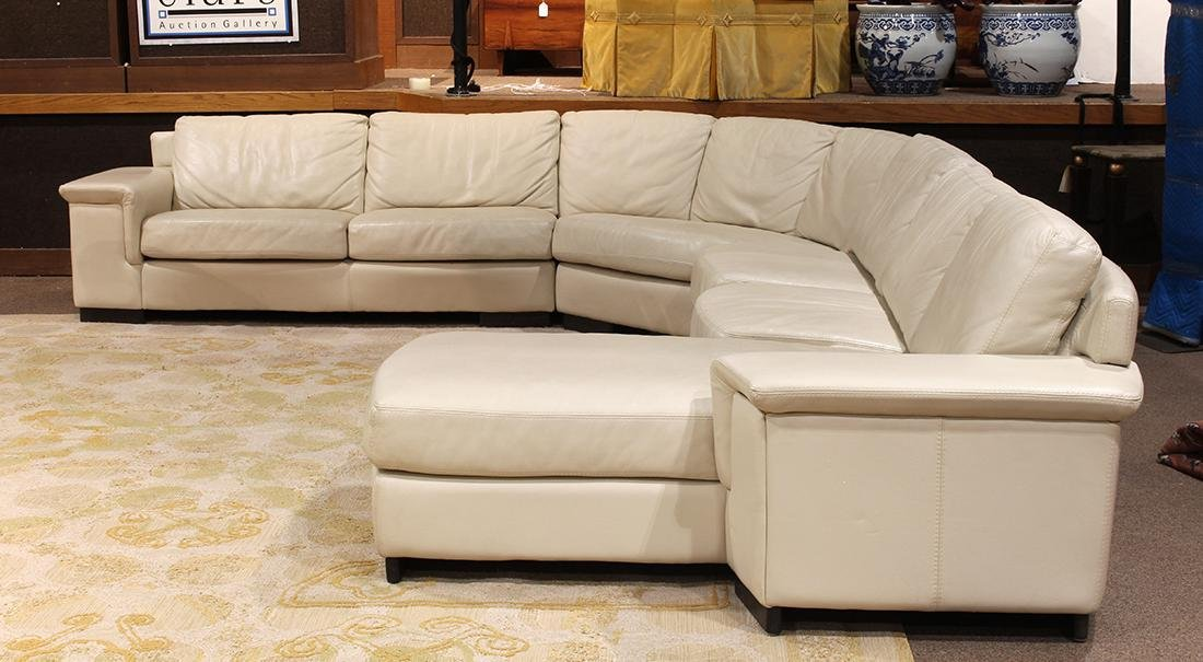 Modern beige leather sectional sofa - 2