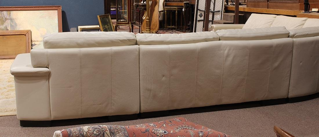 Modern beige leather sectional sofa - 3