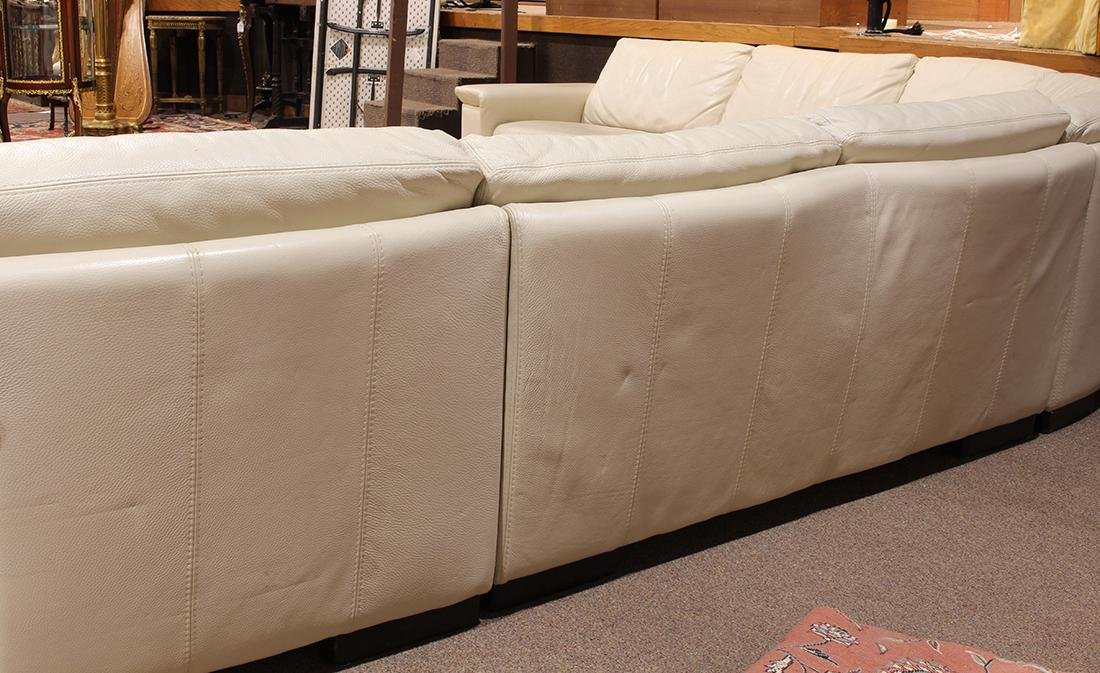 Modern beige leather sectional sofa - 4