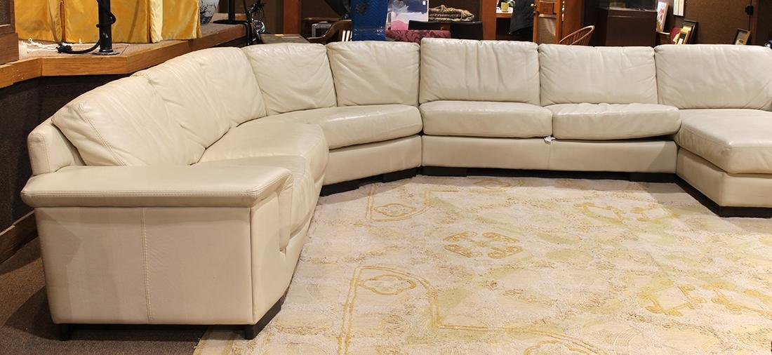 Modern beige leather sectional sofa - 5