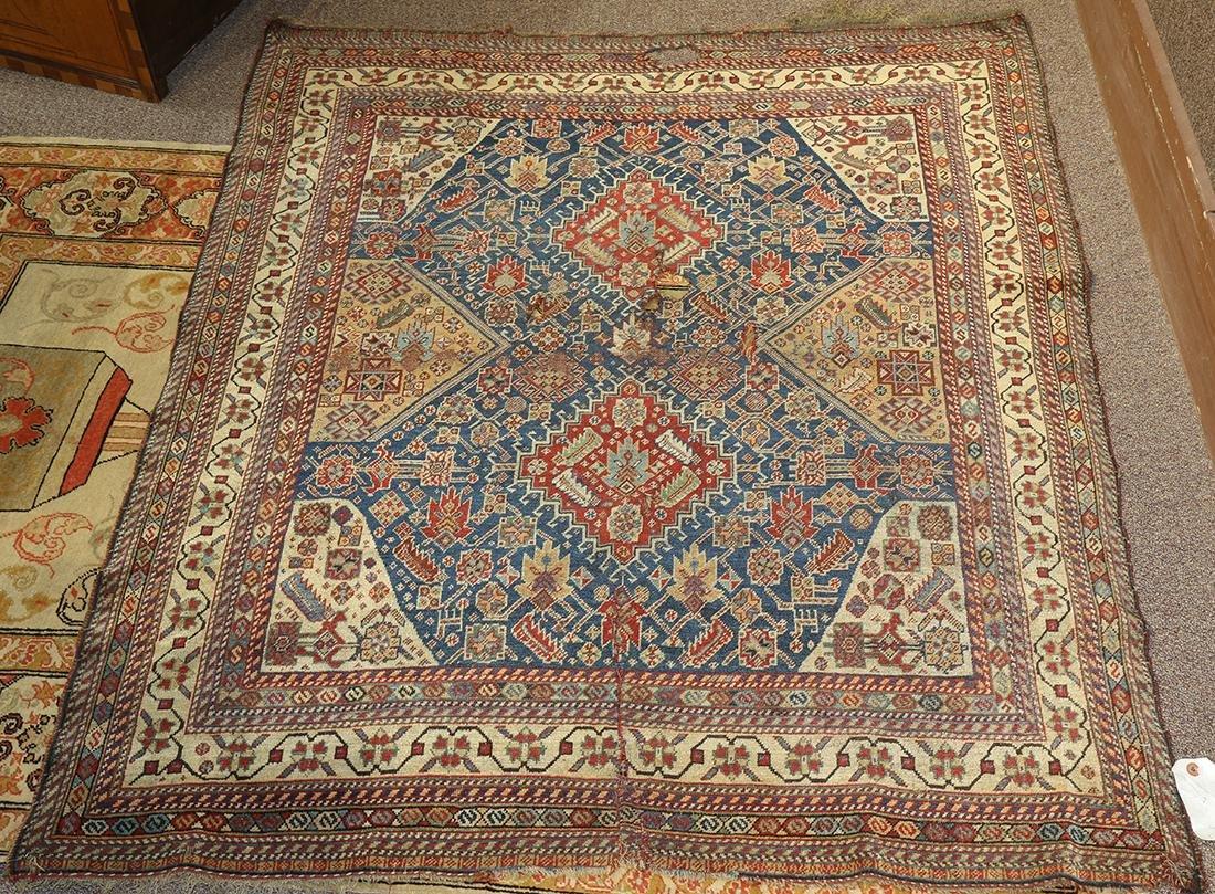 "Antique Persian Hamseh carpet, 5'1"" x 3'11"" ""damaged"""