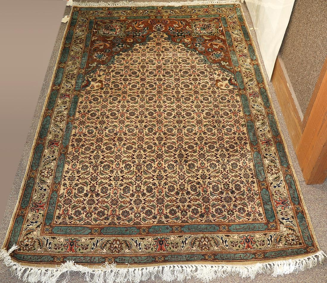 Antique Persian part silk Kerman prayer rug with
