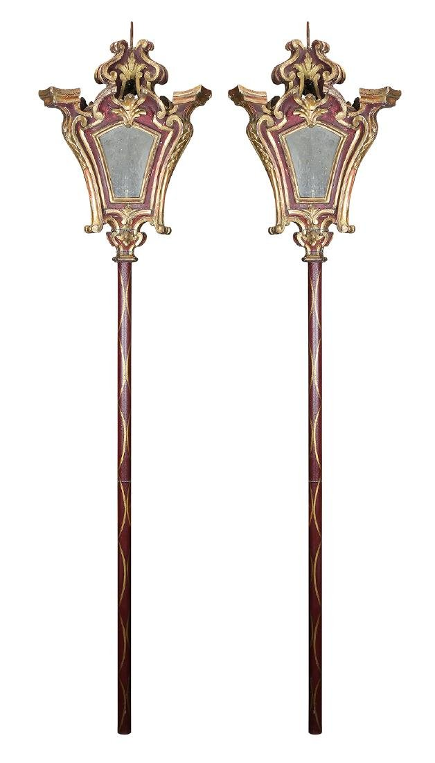 Pair of partial gilt and polychrome decorated Venetian