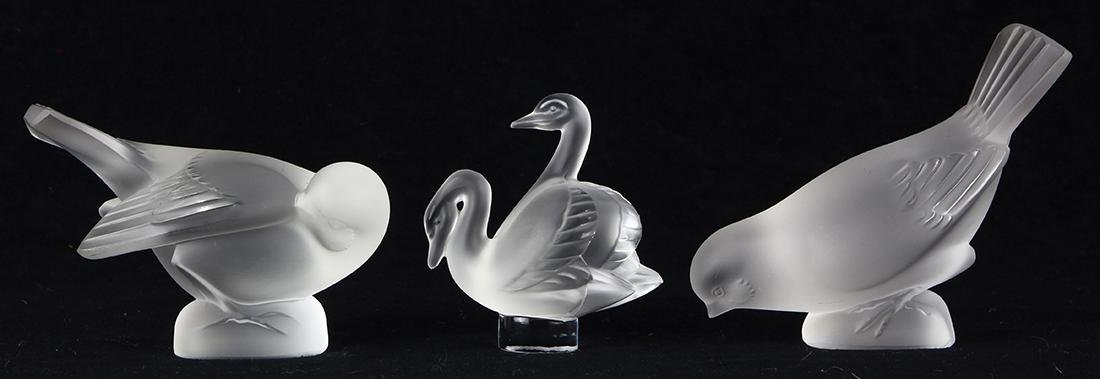 (lot of 3) Lalique frosted crystal group