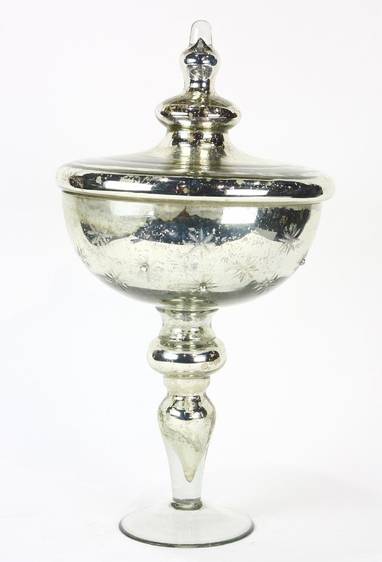 Moderne mercury glass lidded compote