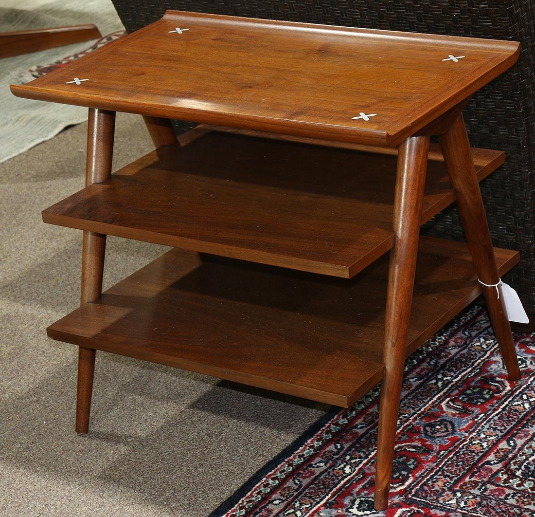 Mid-Century teak tiered side table