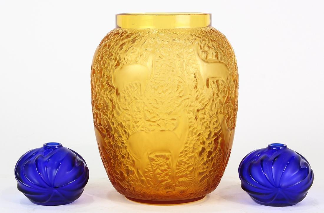 (lot of 3) Lalique art glass vase group