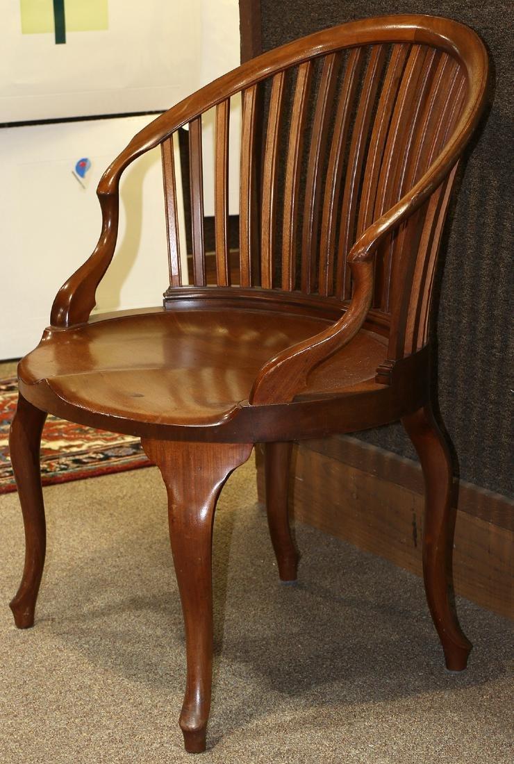 Mid Century walnut barrel chair - 2