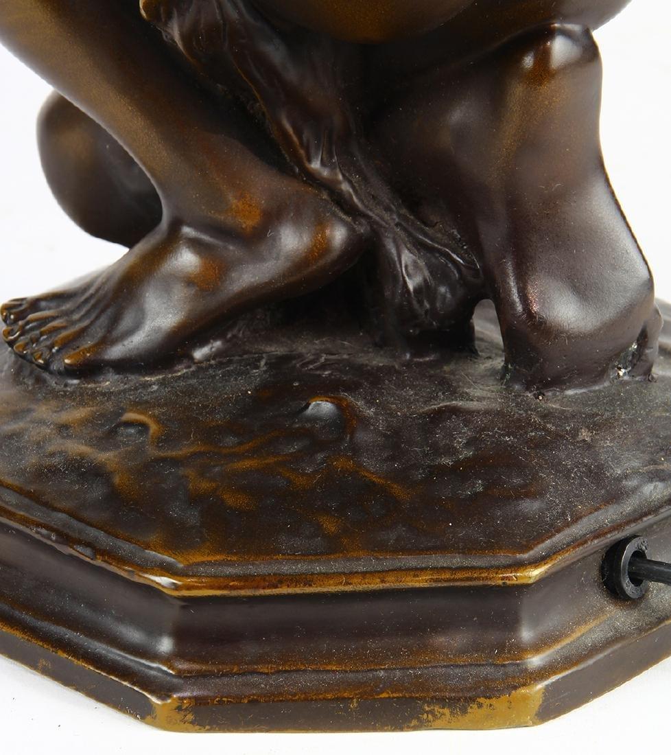 Art Nouveau patinated bronze table lamp - 10