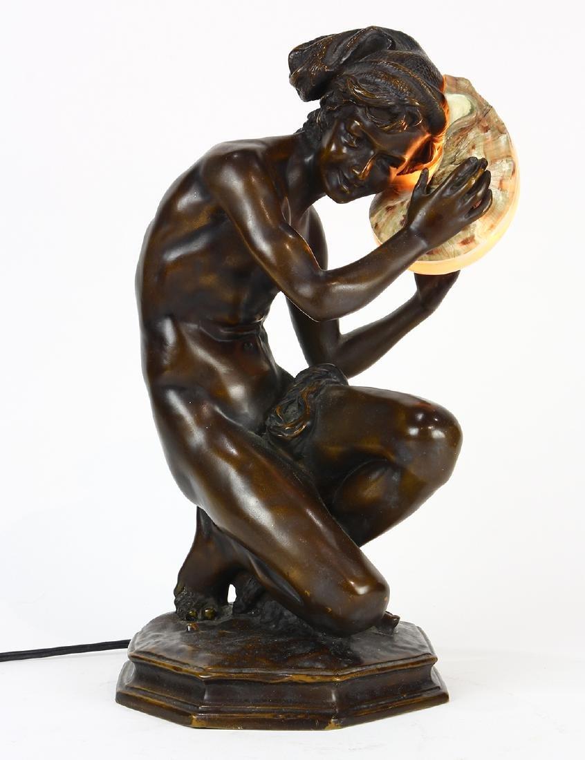 Art Nouveau patinated bronze table lamp