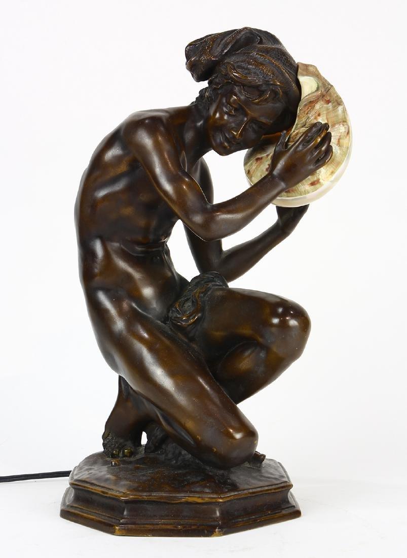 Art Nouveau patinated bronze table lamp - 2