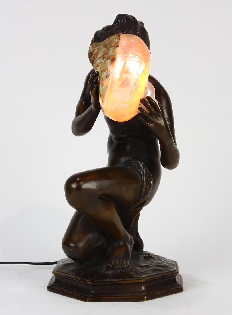 Art Nouveau patinated bronze table lamp - 3