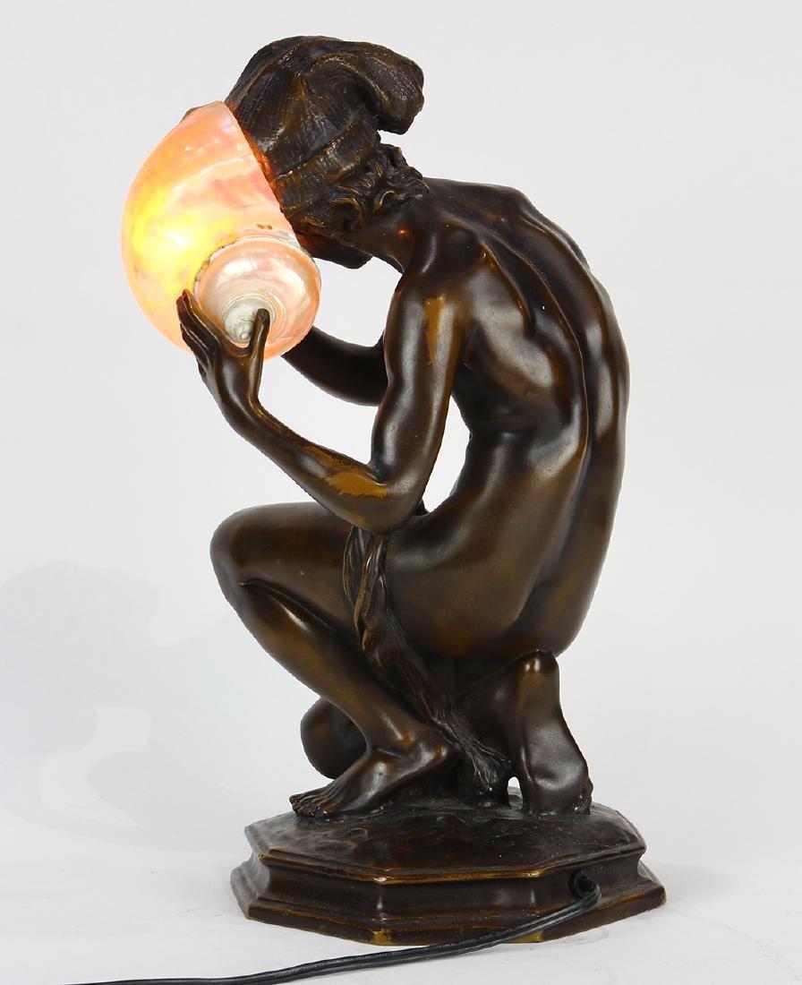 Art Nouveau patinated bronze table lamp - 4