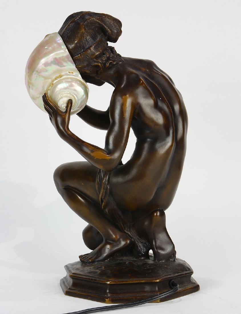 Art Nouveau patinated bronze table lamp - 5