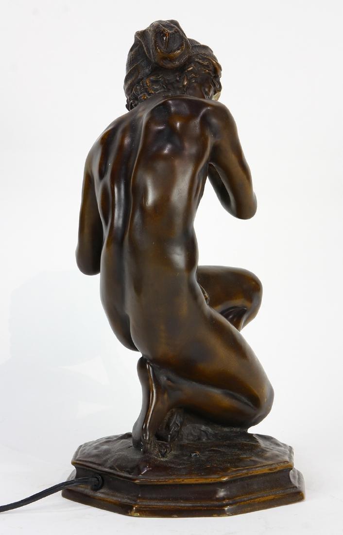 Art Nouveau patinated bronze table lamp - 6
