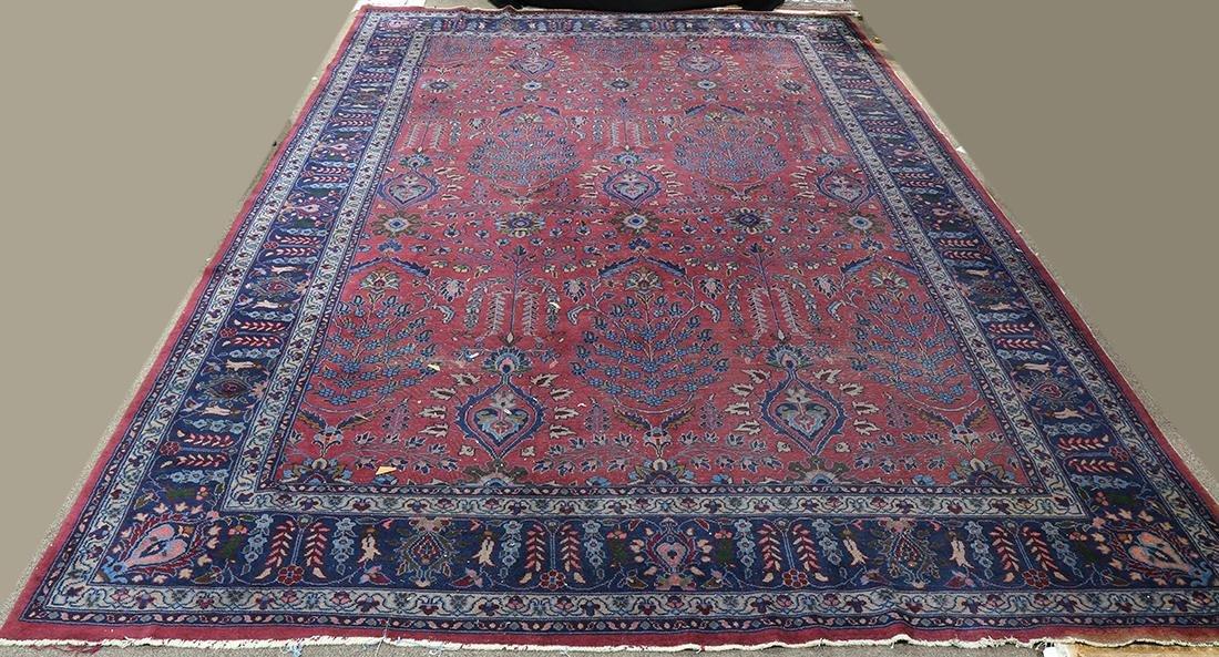 "Indo Kashan carpet, 9'10"" x 14'7"" (wear)"