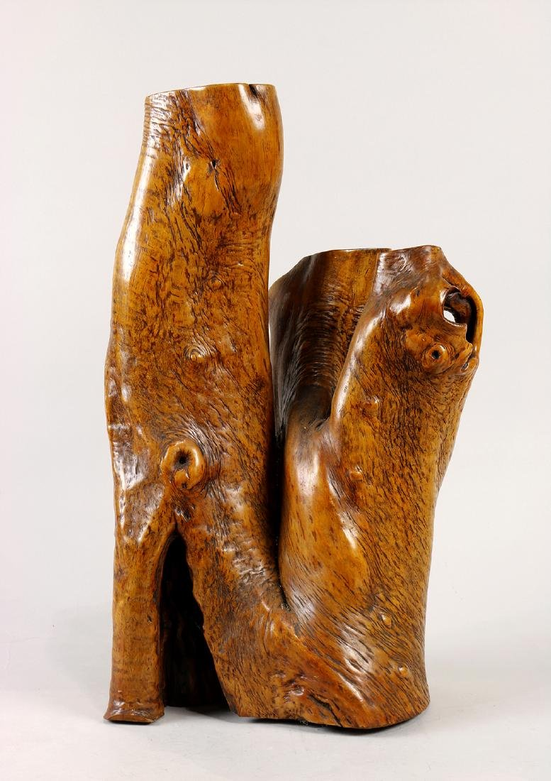Burlwood figural sculpture and jardiniere, formed from