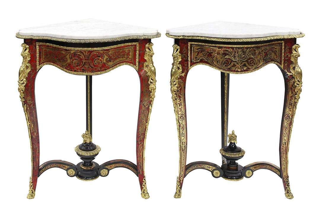Pair of French boulle style corner tables