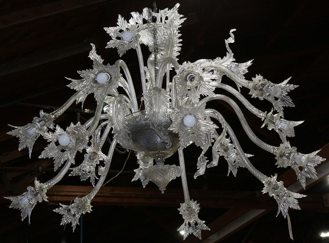 Large Murano colorless glass chandelier