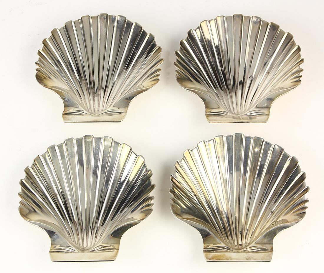 (lot of 4) George III sterling silver shell bowls by