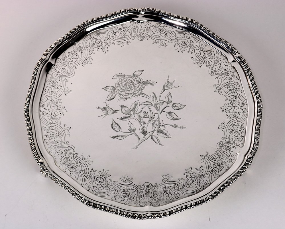 Irish George II silver salver by Michael Cormich and