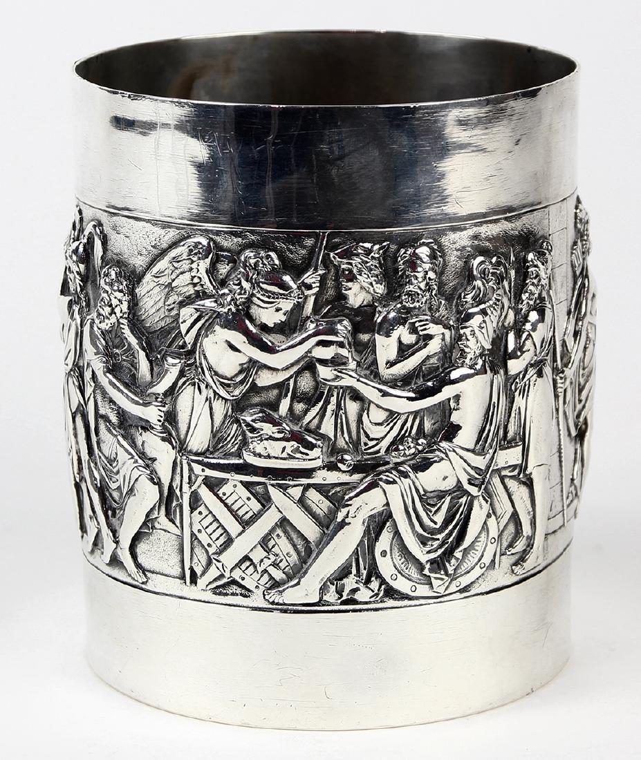 German 800 silver tankard, circa 1900, the cylindrical