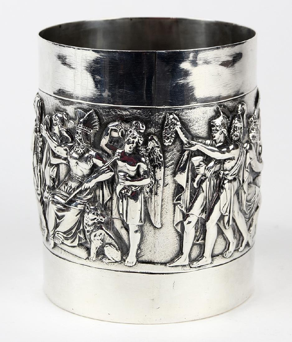 German 800 silver tankard, circa 1900, the cylindrical - 2