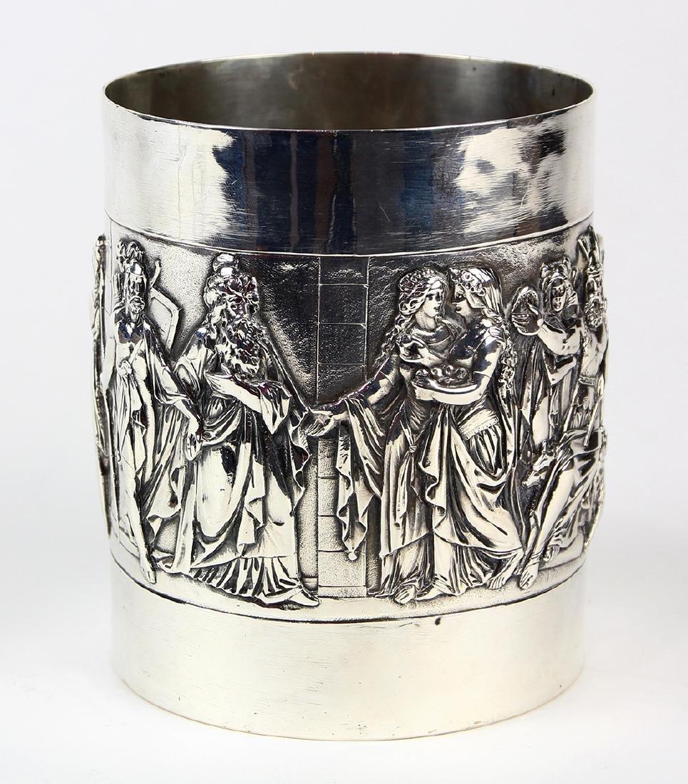 German 800 silver tankard, circa 1900, the cylindrical - 3