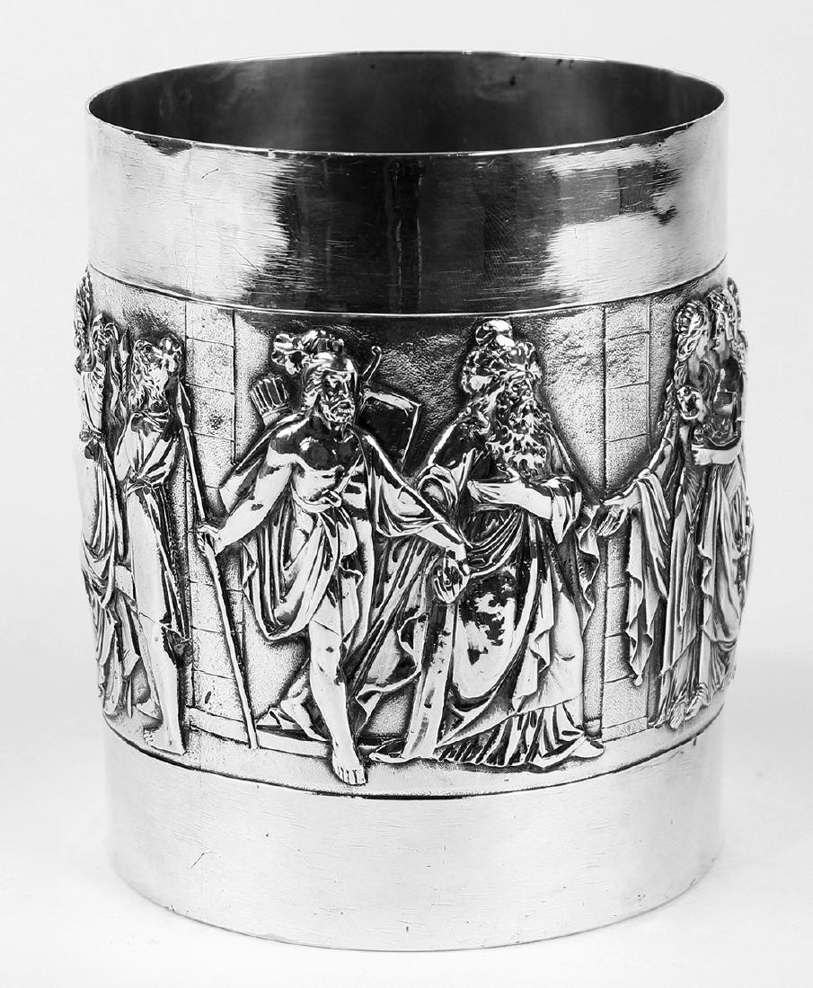German 800 silver tankard, circa 1900, the cylindrical - 4
