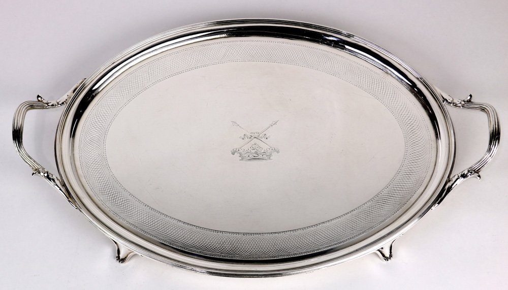 George III silver serving tray by W