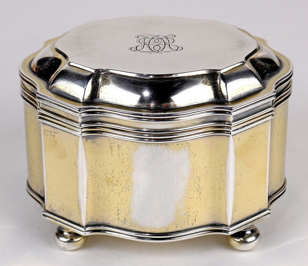 French silver lidded box, circa 1880, the sculpted lid