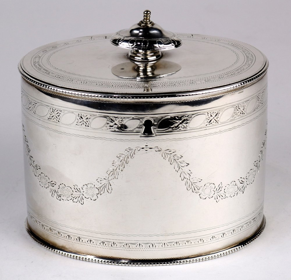 George III silver tea caddy by William Vincent, 1750,