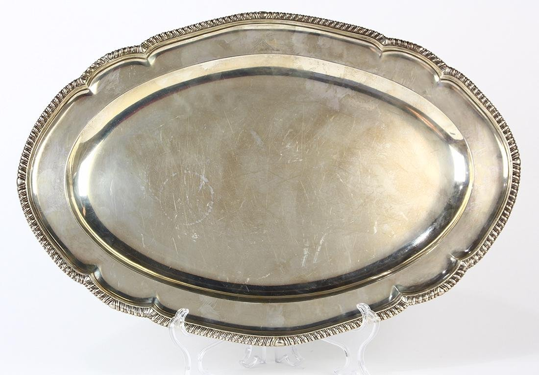 George III sterling silver serving platter by John