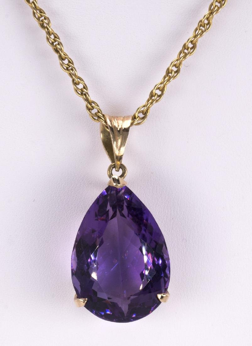 Amethyst and 14k yellow gold pendant-necklace