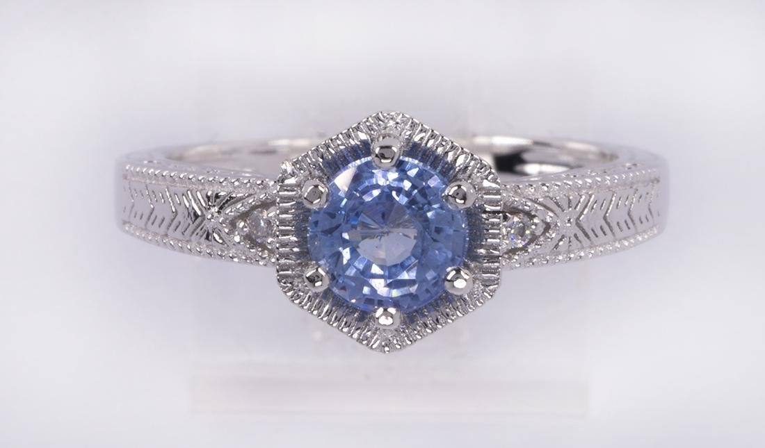 Sapphire, diamond and platinum ring