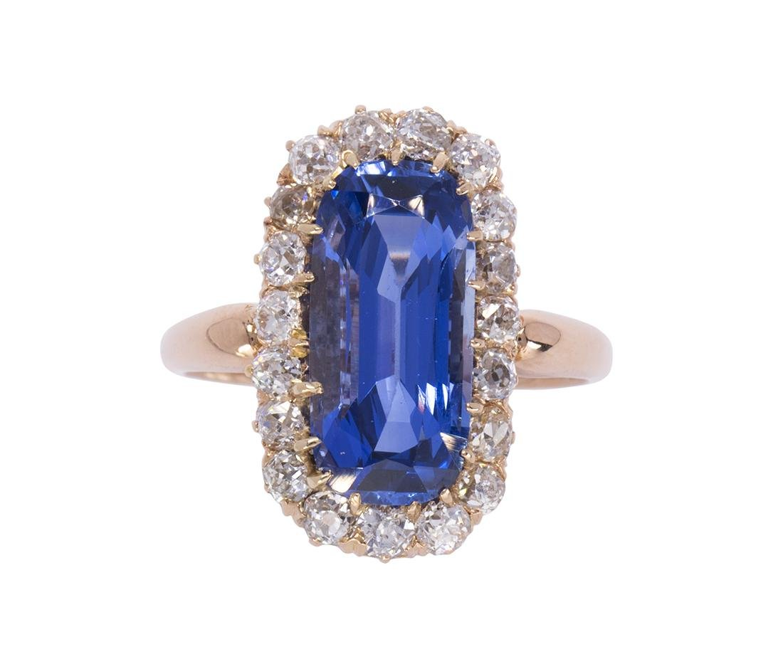 Edwardian sapphire, diamond and 14k rose gold ring
