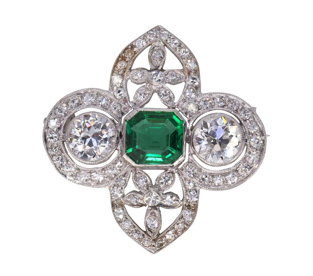Edwardian emerald, diamond and platinum brooch