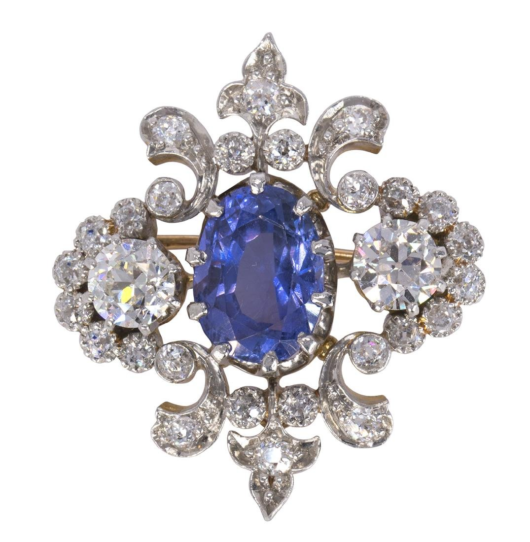 Victorian sapphire, diamond, platinum and 18k yellow