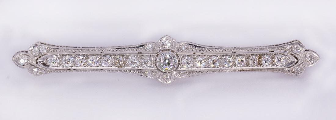 Edwardian, diamond and platinum bar brooch