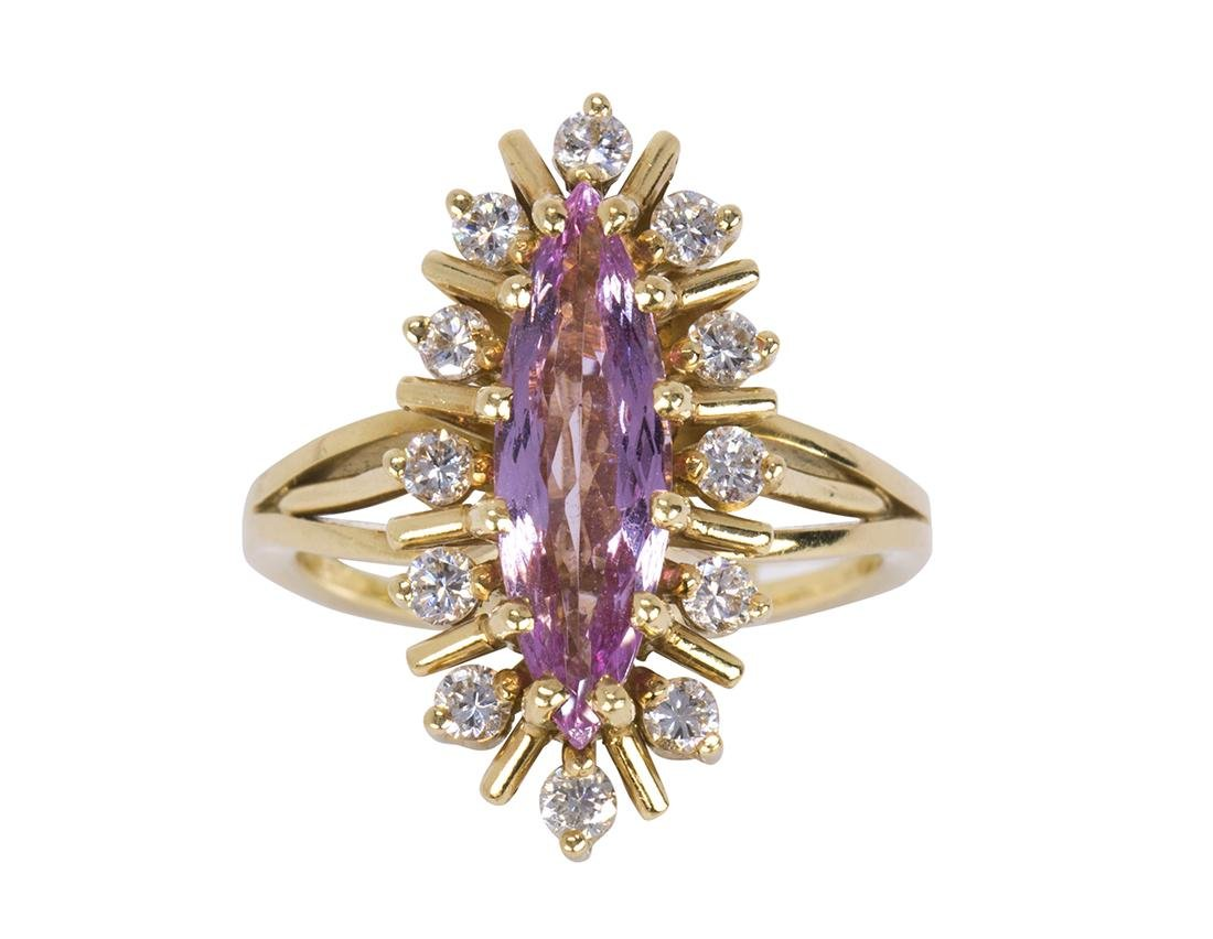 Pink topaz, diamond and 18k yellow gold ring