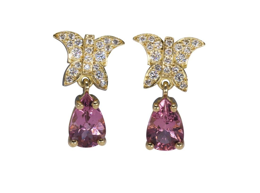 Pair of pink topaz, diamond and 18k yellow gold