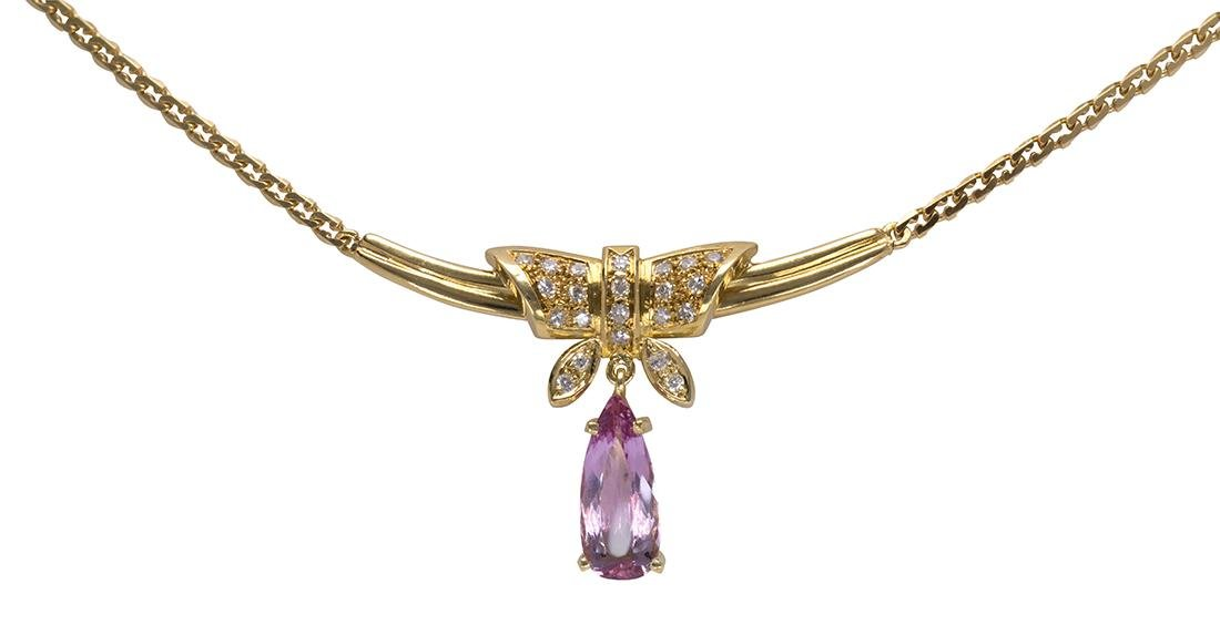 Pink topaz, diamond and 18k yellow gold necklace
