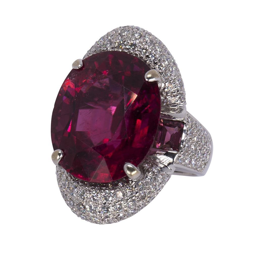 Rubellite tourmaline, diamond and 18k white gold ring