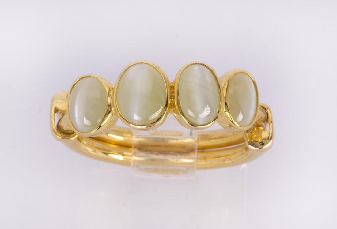 Cat's eye chrysoberyl and 14k yellow gold ring