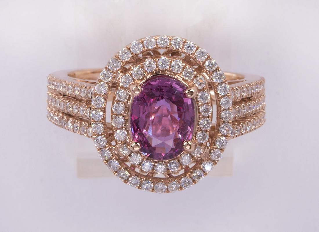 Pink sapphire, diamond and 14k rose gold ring