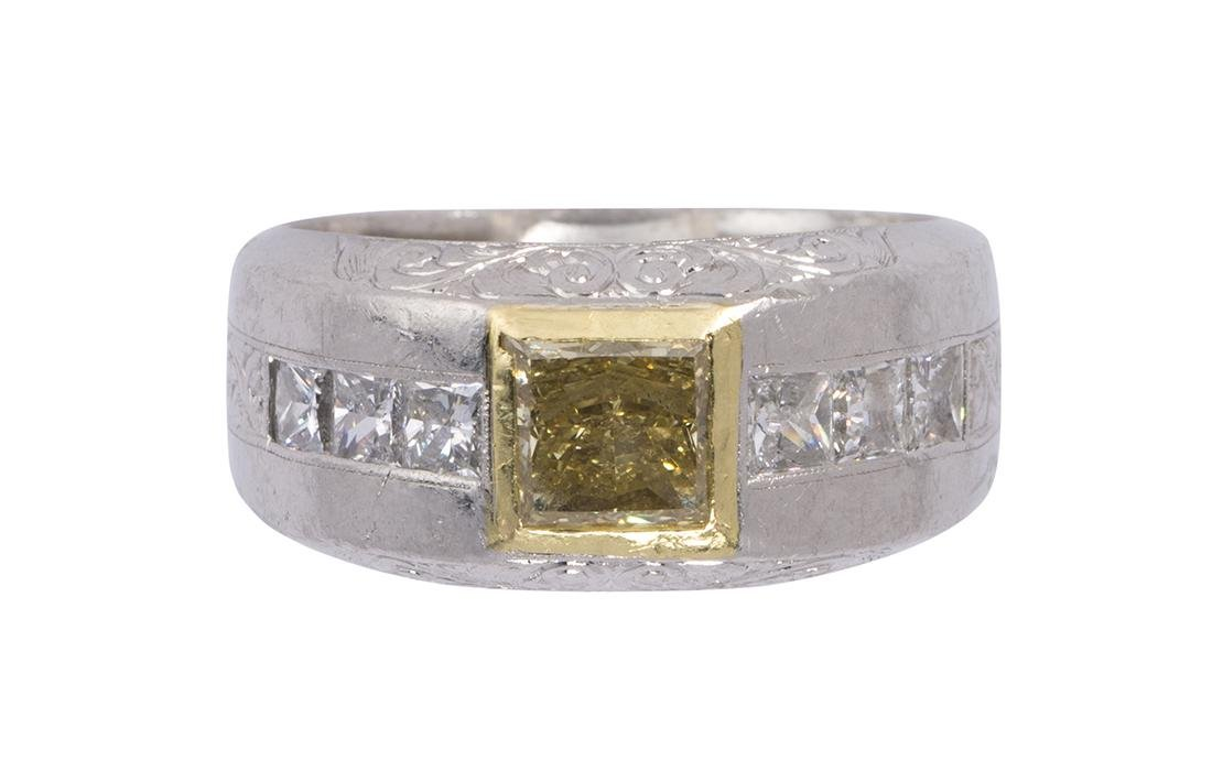 Michael Beaudry diamond, platinum and 18k yellow gold