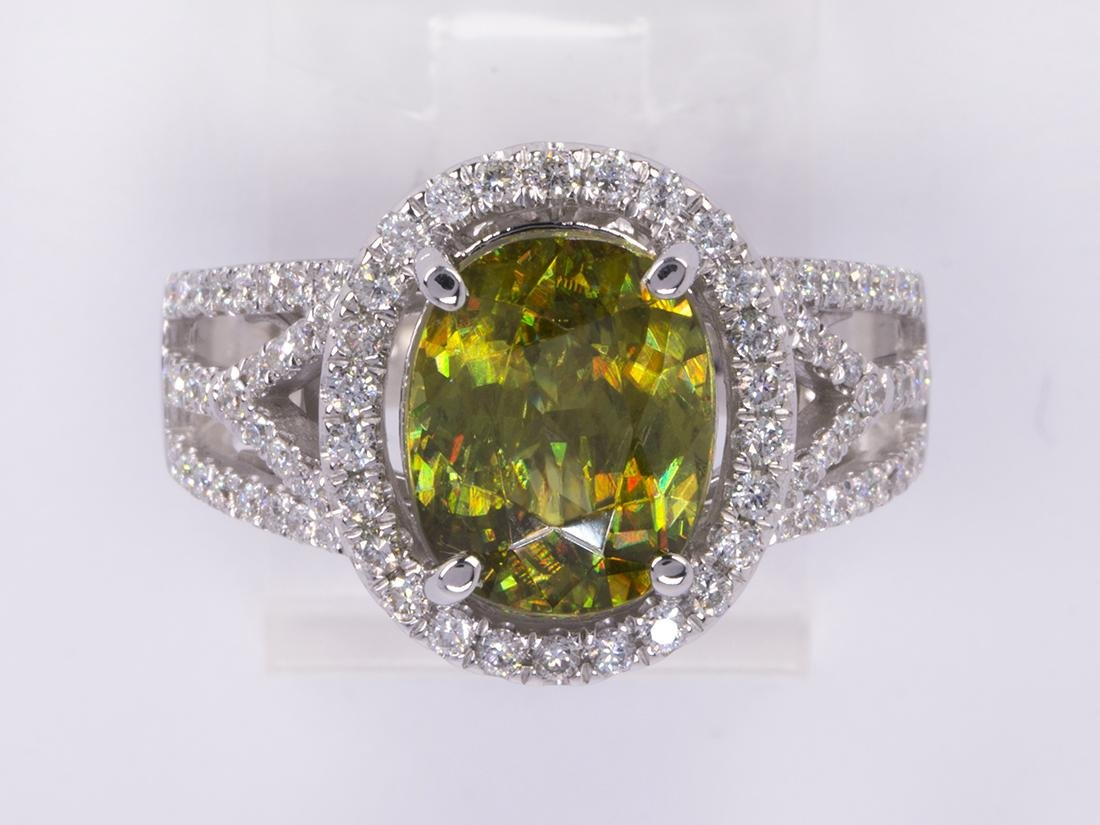 Sphene, diamond and 14k white gold ring