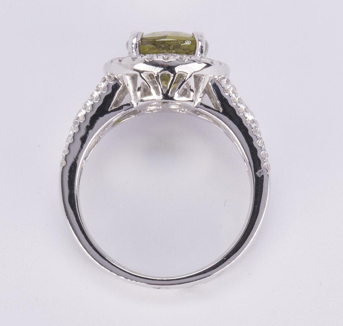 Sphene, diamond and 14k white gold ring - 3