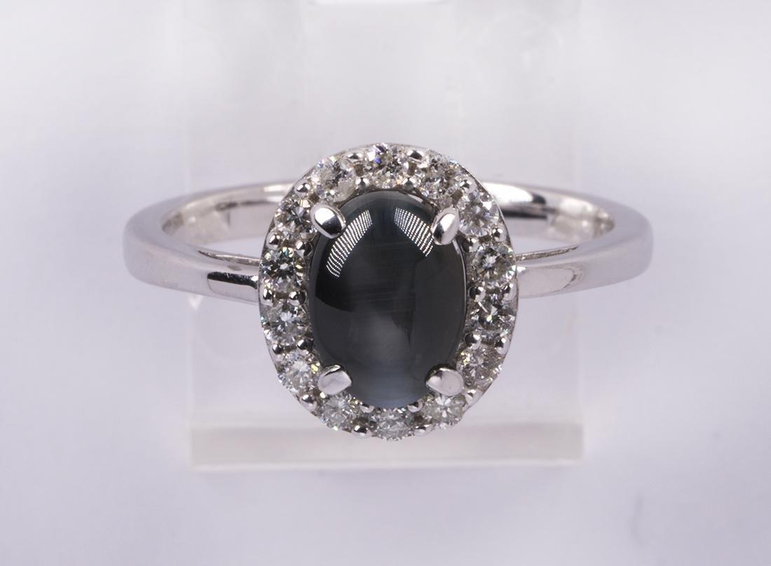 Cat's eye chrysoberyl, diamond and 14k white gold ring