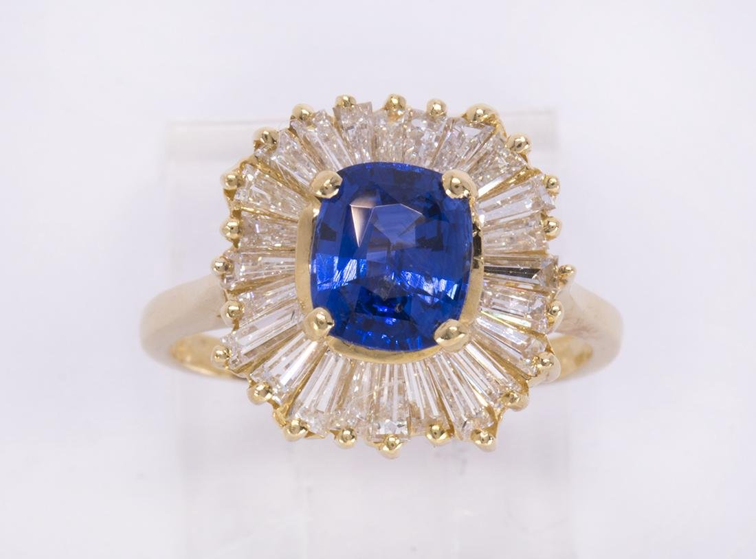 Sapphire, diamond and 18k yellow gold ring